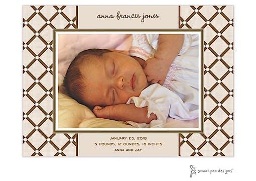 Square Diamonds Flat Photo Birth Announcement