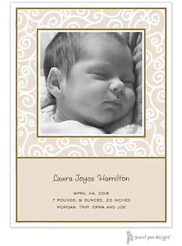 Scrollwork Latte Flat Photo Birth Announcement