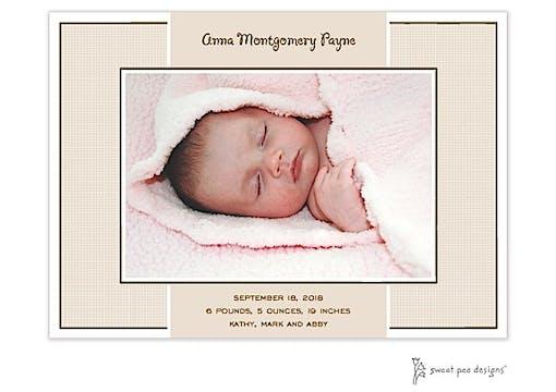 Linen Latte Flat Photo Birth Announcement