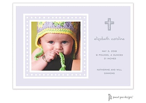 White Dotted Border Lavender Flat Photo Birth Announcement