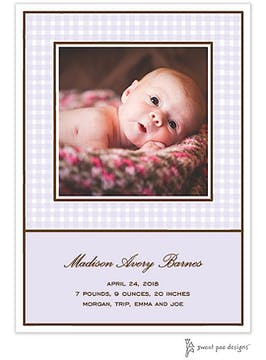 Gingham Lavender Flat Photo Birth Announcement