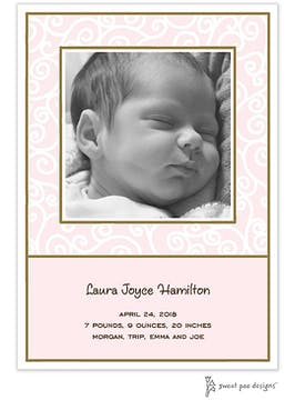 Scrollwork Pink Flat Photo Birth Announcement