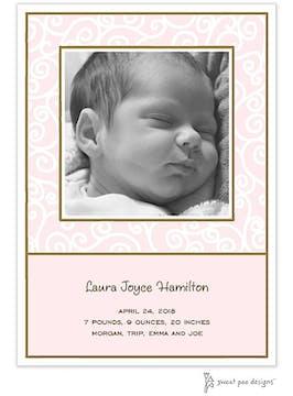 Scrollwork Pink Flat Photo Birth Announcement