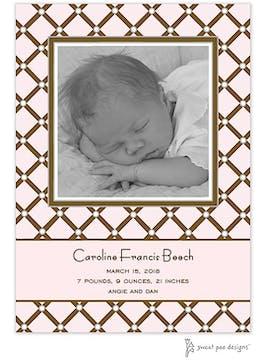 Square Diamonds Pink Photo Birth Announcement