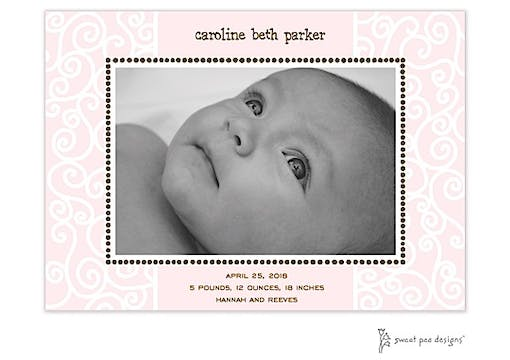 Scrollwork Pink Birth Announcement Photo Card
