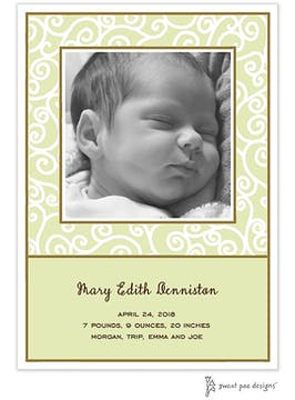 Scrollwork Lime Flat Photo Birth Announcement