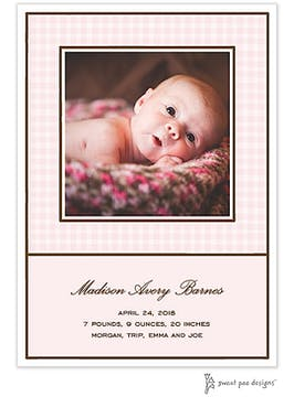 Gingham Pink Flat Photo Birth Announcement