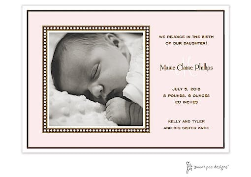 Dotted Border Pink Flat Photo Birth Announcement