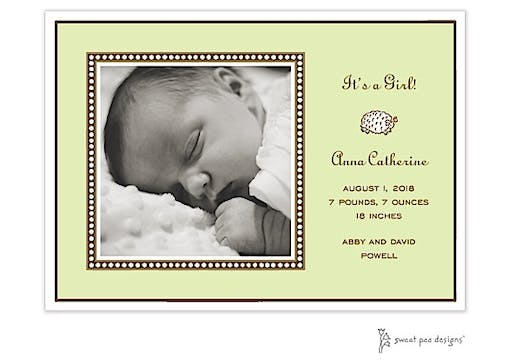 Dotted Border Lime Flat Photo Birth Announcement