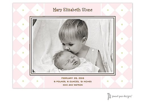 Diamonds & Dots Pink Flat Photo Birth Announcement