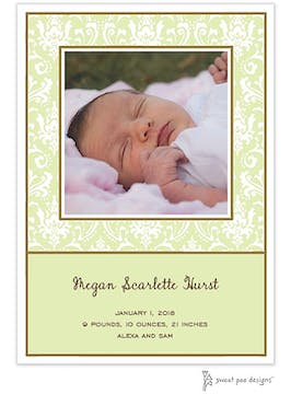 Damask Lime Flat Photo Birth Announcement