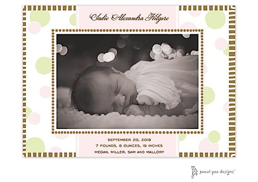 Cool Dots Pink & Chocolate Flat Photo Birth Announcement