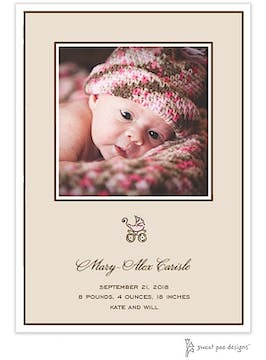 Classic Edge White & Chocolate On Latte Flat Photo Birth Announcement
