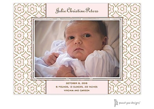 Circle Flowers Pink Flat Photo Birth Announcement