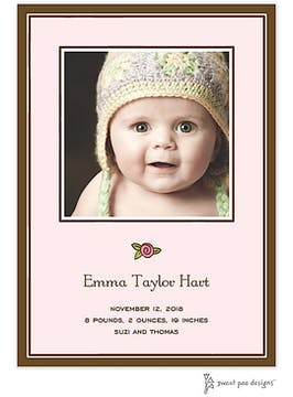 Simple Border Chocolate On Pink Flat Photo Birth Announcement