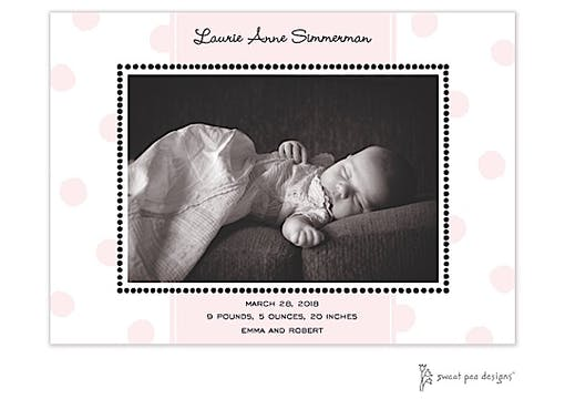 Big Dots Pink Flat Photo Birth Announcement
