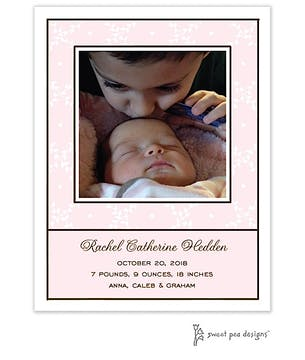 Trellis Pink Flat Photo Birth Announcement