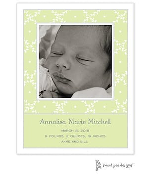 Trellis Lime Flat Photo Birth Announcement