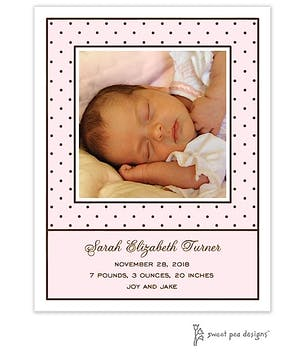 Tiny Dots Pink & Chocolate Flat Photo Birth Announcement