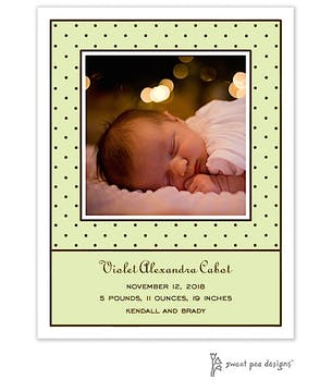 Tiny Dots Lime & Chocolate Flat Photo Birth Announcement