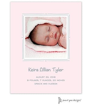 Vintage Frame Pink & Silver Flat Photo Birth Announcement