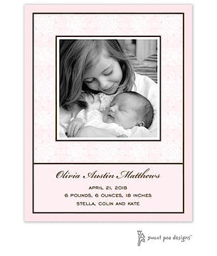 Damask & Dots Pink Flat Photo Birth Announcement