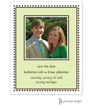 Antique Bead Border Lime Flat Photo Save The Date Card