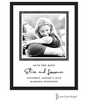 Dotted Border Black & White Flat Photo Save The Date Card