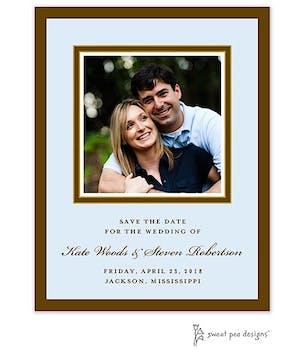Chocolate & Gold Border On Blue Flat Photo Save The Date Card