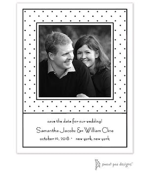 Tiny Dots White & Black Flat Photo Save The Date Card
