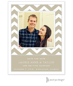 Chevron Taupe Flat Photo Save The Date Card