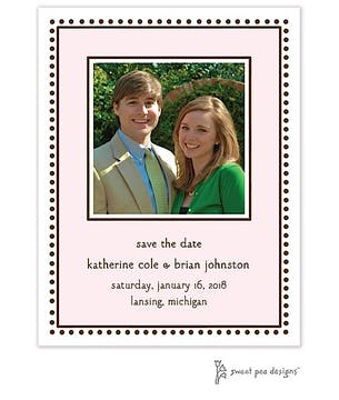 Antique Bead Border Pink Flat Photo Save The Date Card