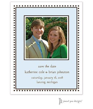 Antique Bead Border Blue Flat Photo Save The Date Card