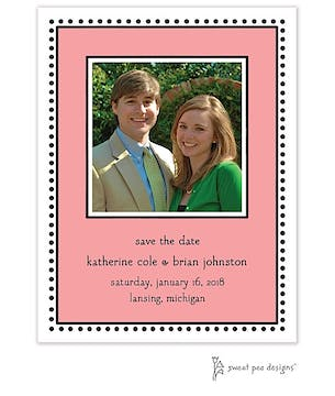 Antique Bead Border Coral Flat Photo Save The Date Card