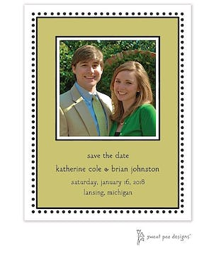 Antique Bead Border Olive Flat Photo Save The Date Card