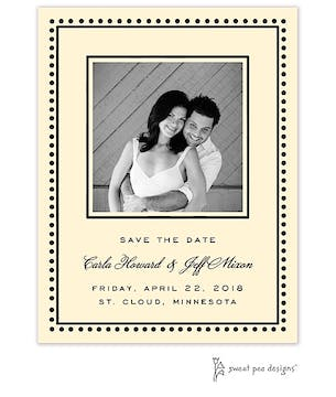 Antique Bead Border Black Flat Photo Save The Date Card