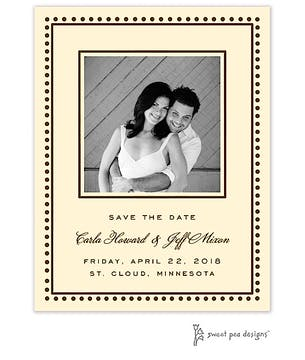 Antique Bead Border Chocolate Flat Photo Save The Date Card