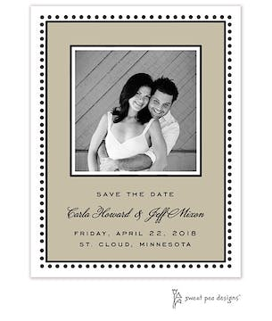 Antique Bead Border Taupe Flat Photo Save The Date Card
