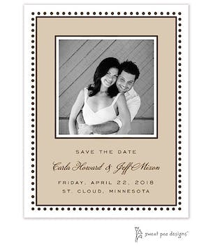 Antique Bead Border Latte & Chocolate Flat Photo Save The Date Card