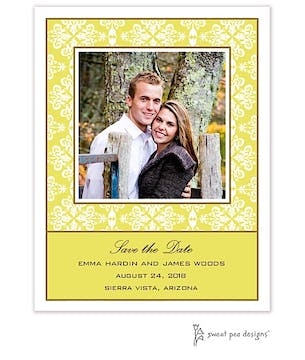 Lace Limeade Flat Photo Save The Date Card