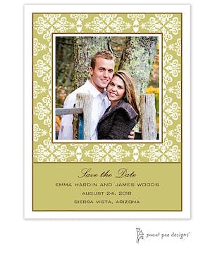 Lace Olive Flat Photo Save The Date Card