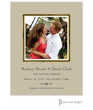 Vintage Frame Taupe & Gold Flat Photo Save The Date Card