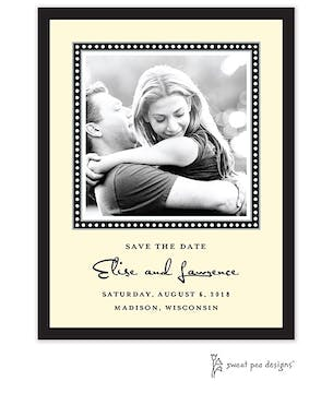 Dotted Border Black Flat Photo Save The Date Card