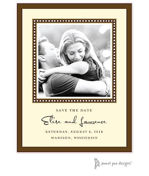 Dotted Border Chocolate Flat Photo Save The Date Card