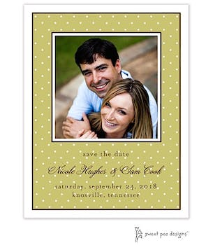 Tiny Dots Olive & White Flat Photo Save The Date Card