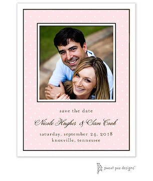 Tiny Dots Pink & White Flat Photo Save The Date Card