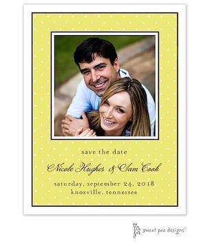Tiny Dots Citrine & White Flat Photo Save The Date Card
