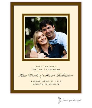 Chocolate & Gold Border Flat Photo Save The Date Card