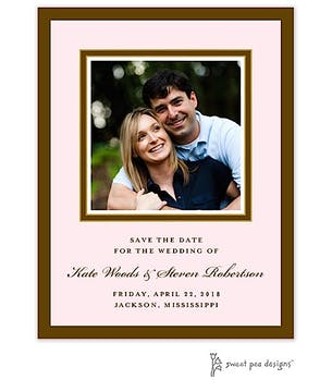 Chocolate & Gold Border On Pink Flat Photo Save The Date Card
