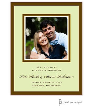Chocolate & Gold Border On Lime Flat Photo Save The Date Card